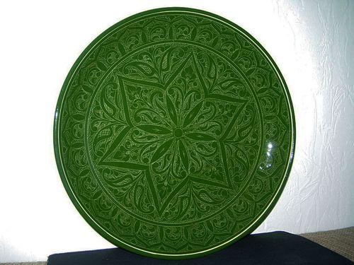 Декоративная зеленая тарелка