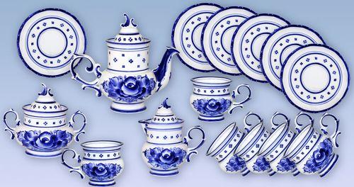 Обзор посуды с росписью Гжель